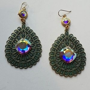 GYPSY MEDALLION patina drop OPAL XL stone earrings